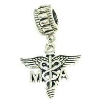 MA Caduceus Medical Assistant Symbol Dangle Charm for Bracelets Medical - $5.00