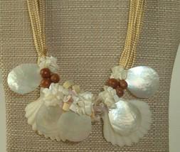 VTG Necklace shell wood handmade big Statement beach artsy boho funky  - $14.84