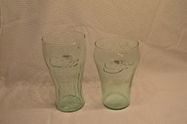 """2 COKE GLASSES. ONE IS 7.75"""" TALL OTHER IS 7"""" TALL VINTAGE ANTIQUE COLLE... - $15.82"""
