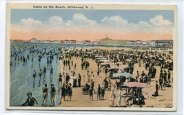 Bathing Beach Scene Wildwood New Jersey 1924 postcard - $5.89