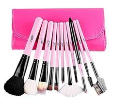 Allure Pink Cosmetic Brushes Kit with White PU Bag 11 PCS