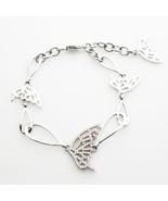 Butterfly Chain Bracelet Cubic Zirconia  Silver Tone Brass Bracelets Women  - $17.75