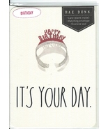 Rae Dunn Happy Birthday Card Tiara Large Letters It's Your Day NIP Rare - $10.00