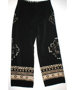 Womens Worth New York $498 16 USA Print Silk Pants Black Brown Wide Ethn... - $199.20