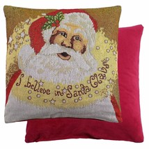 """Luxury Sparkly Christmas Santa Father Cotton Tapestry Red Gold Cushion Cover 18"""" - $7.47"""