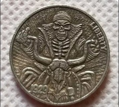 Rare New Hobo Nickel 1929 Skull Skeleton Coin Motorcycle Biker Gang Skul... - $11.99