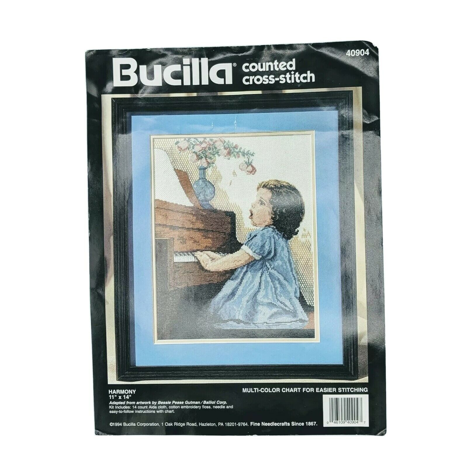 "Primary image for 1994 VTG Bucilla 11""x14"" Counted Cross Stitch Kit HARMONY #40904 Missing Needle"