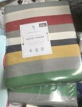 Pottery Barn Kids Max Stripe Duvet Cover Set Queen 2 Standard Shams Colorful - $155.31