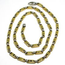 18K YELLOW WHITE GOLD SQUARE TUBE ALTERNATE CHAIN, 20 INCHES & WORKED CROSS image 3