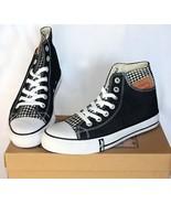 Levis Black Houndstooth BUCK HI Stiff Denim Canvas Tennis Shoes W 6.5 NI... - $28.99