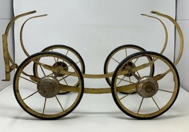 """Baby Carriage Wheels 8"""" Rubber Steel Antique Set of 4 With Frame & Brake... - $66.45"""