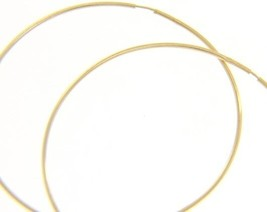 18K YELLOW GOLD ROUND CIRCLE HOOP EARRINGS DIAMETER 50 MM x 1 MM, MADE IN ITALY image 1