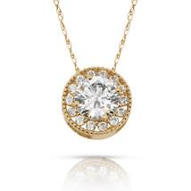 1.90Ct White Sapphire Round Halo Charm Pendant 14K Y Gold  w/ Chain - $60.27+
