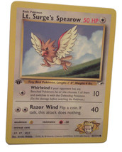Pokemon Card 1st Edition Lt. Surge's Spearow (83/132) Gym Heroes Non Hol... - $1.99