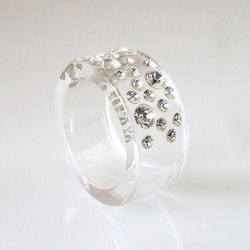 New Clear Acrylic Band Ring Large & Small Randow Row Swarovski Elements Crystal image 4