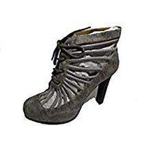 BE&D by Maison Dumain Harvey Bootie Grey Rock Wedge Ankle High Women Strap Shoe - $54.99