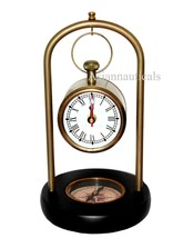 Nautical Maritime Antique Table Clock W/temp Brass Stand Hanging Desk De... - $69.29
