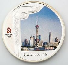 2008 Beijing China Olympiade Torch Relais Gefärbten 999 Silber Medaillon... - $120.48