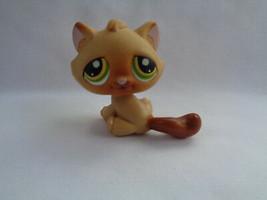 Hasbro Littlest Pet Shop Tan Brown Tabby Kitty Cat Green / Gold Eyes  #194 - $3.53