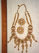 VTG RUNWAY BOLD FAUX BAROQUE PEARL SWAG NECKLACE EARRING SET + JOAN RIVE... - $397.99