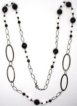 Silver necklace 925 Burnished, Onyx, Roach, Length 100 CM, Oval Chain image 2