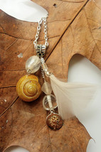 On the Breeze necklace: dandelion charm,  beadwork, chain, & authentic s... - $34.00
