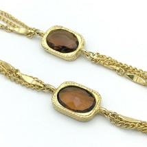 """SARAH COVENTRY vintage festoon station necklace - gold-tone brown 50"""" long - $20.00"""