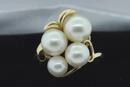 MIKIMOTO Vintage (ca. 1950) 14K Yellow Gold Japanese Akoya 4 Pearl Ring (6) - $485.00