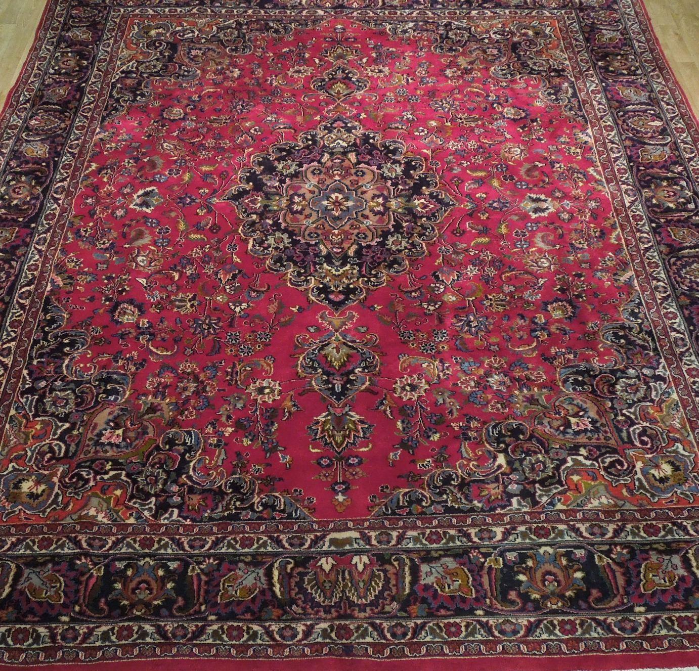 Red Wool Rug 10' x 12' Scarlet Vivid Original Traditional Persian Handmade Rug image 9