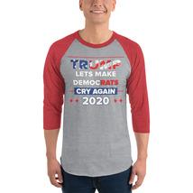 Lets democrats Cry Again 3/4 sleeve raglan shirt Trump 2020 image 4