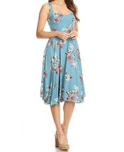 Floral Swing Dress, Rayon Floral Dress, Sweetheart Neckline, Blue Swing Dress