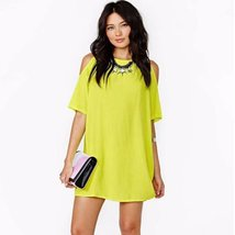 Summer Candy Color Cut Out Women Mini Dress - $11.04
