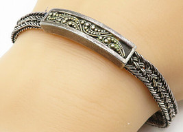 LOIS HILL 925 Silver - Vintage Braided Rope Style Beaded Chain Bracelet ... - $80.09