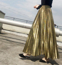 GOLD A Line Maxi Pleated Skirt Women Plus Size Full Pleated Gold Party Skirts image 1