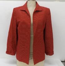 Talbots Red w/ White Strip Open Front Jacket/Blazer, Women Size 12P - $29.00