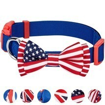 Dog Bow Tie American Flag 6 Designs Pack of 1 National Pride Handmade  - $29.45