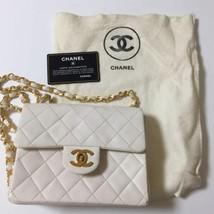 Auth CHANEL Shoulder Bag White Mini Matelasse Vintage Classic Flap Lethe... - $1,164.24