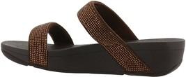 FitFlop Lottie Shimmer Crystal Slide Sandal BRONZE 7 NEW 674-157 - $81.16