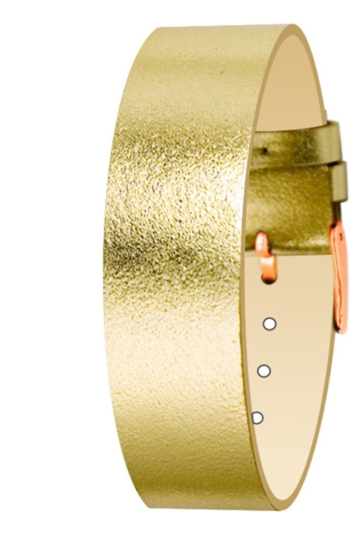 Primary image for Moog Paris Gold Calf Leather Bracelet for Women, Metallic Pattern, Pin Clasp, 18