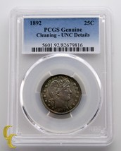 1892 Barber Silver Quarter 25c PCGS Graded UNC Details - $204.04