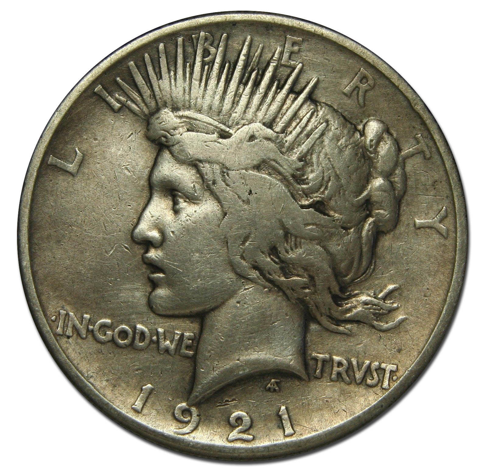 1921 Peace Silver Dollar Coin - Lot # MZ 2527