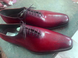 Burnished Brogues Toe Premium Maroon Red Color Leather Lace Up Men Oxford Shoes - $139.99+