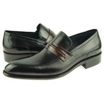Handcrafted Men Black Color Genuine Leather Moccasin Loafer Slip Ons Shoes image 2