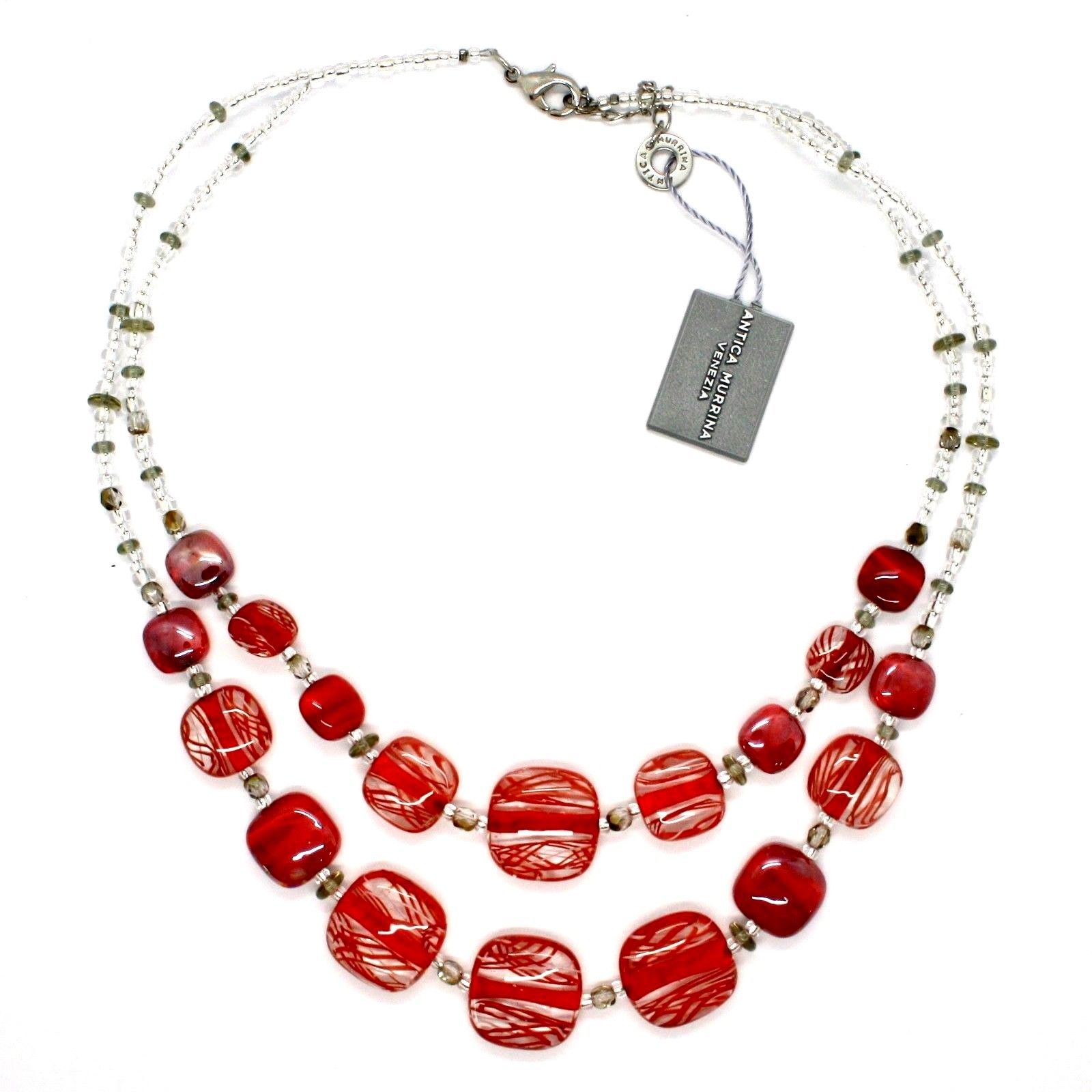 NECKLACE ANTICA MURRINA VENEZIA WITH MURANO GLASS RED AND WHITE CO950A11