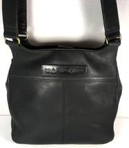 Fossil Vintage Black Leather Multi Pocket Shoulder Bag Brass Tone Hardware image 2