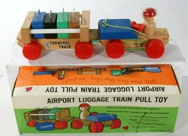 Vintage Sears Airport Luggage Train Pull Toy Yamada Toshio Shoten Made I... - $48.94