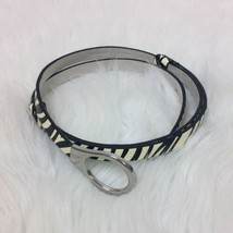 Chico's Womens Black White Zebra Belt Silver Tone Buckle Sz Med Large Ad... - $17.75