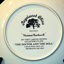 """1977 """"The Doctor and the Doll"""" Norman Rockwell Plate with Box ( Royalwood China) image 3"""