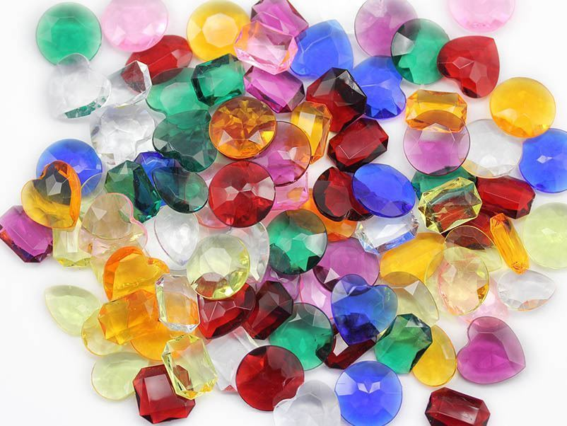 25x18mm Pink CH13 Teardrop Pirate Jewels For Games and Parties 40 PCS