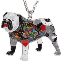 Bonsny Statement Enamel English British Bulldog Bull Terrier Necklaces P... - $13.16